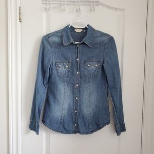 EUC Denim Button-Up with Pearly Buttons